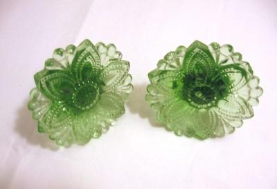 Vintage Green Depression Glass Vaseline Uranium Curtain Tie Backs ...