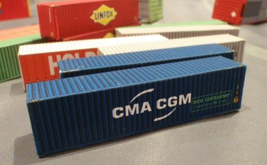 3-x-40-Foot-Sea-containers-CMA-CGM-for-N-scale-Model-Railway