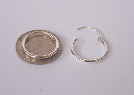 Girls 925 Sterling Silver 12mm Small Top Hinged Hoop