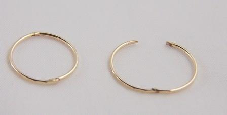 9ct Gold 13mm Small Faceted Hinged Hoop Sleeper Earrings