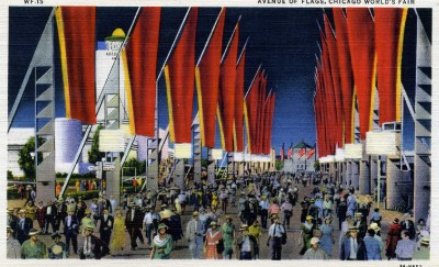 1933-Chicago-Worlds-Fair-Avenue-of-Flags-Linen-PC