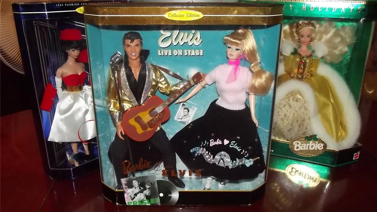 BARBIE-LOVES-ELVIS-PRESLEY-1957-ROCK-N-ROLL-1996-NRFB-2-dolls-collector-ed-NICE