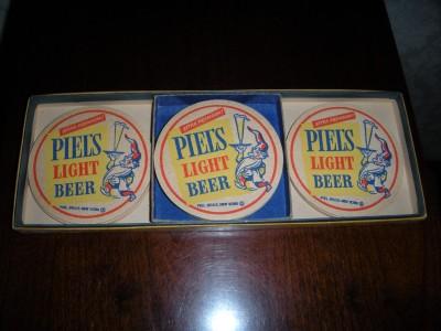 10 vintage piel 39 s light beer cardboard coaster in box ebay - Cardboard beer coasters ...