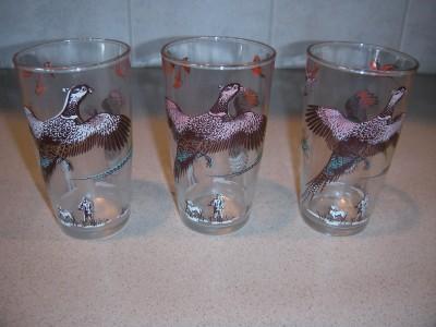 LOT OF 3 VINTAGE PHEASANT GAME HUNTING HUNTER GLASSES