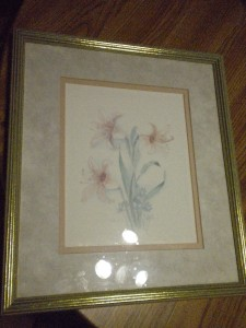 Vintage Tiger Lilly Water Color Print Artist Signed Mary