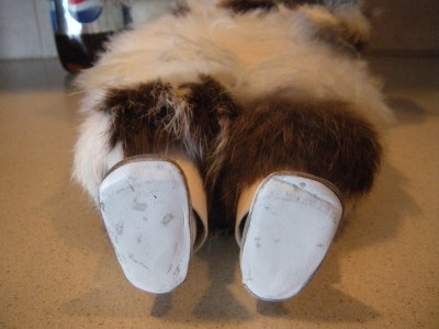 """Adorable Vintage 19"""" Eskimo Girl Baby Doll Fur Coat Leather Boots Fur Mittens"""