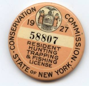 Antique state of new york 1927 resident hunting trapping for New york fishing license online