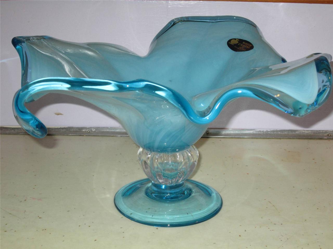 Vintage white cristal murano art glass milky blue