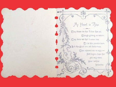 Mint Unused Victorian Valentine Card Red Poppies Flower with 2 Girls
