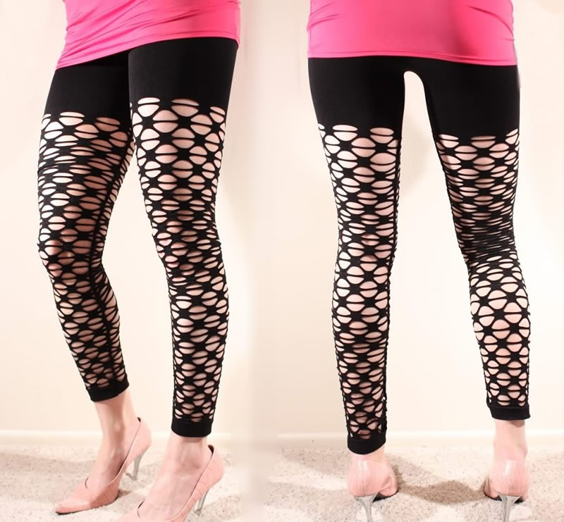 Fashion Trend Fishnet Footless Stretch Leggings 1 size