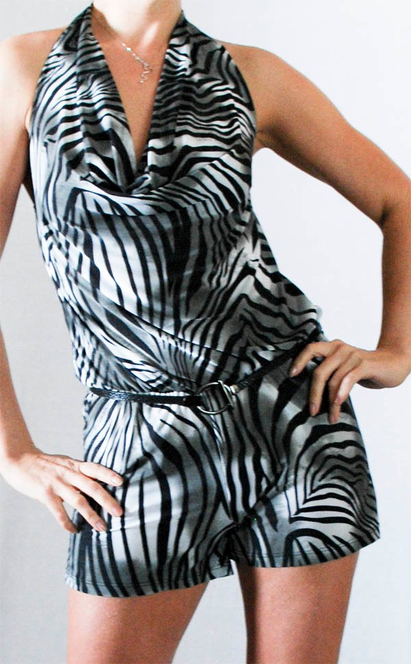 Zebra-Clubbing-Evening-Sexy-Womens-Party-Clubwear-Cocktail-Romper-Black-Gray