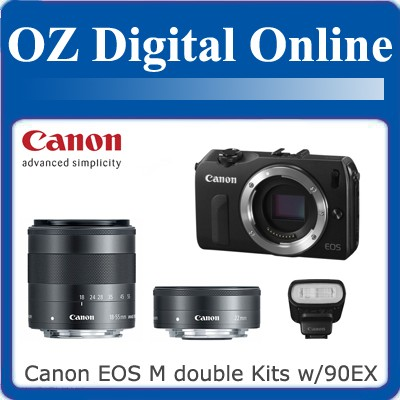 New-Canon-EOS-M-Double-Kit-18-55mm-22mm-90EX-Flash-1-Year-Au-Wty