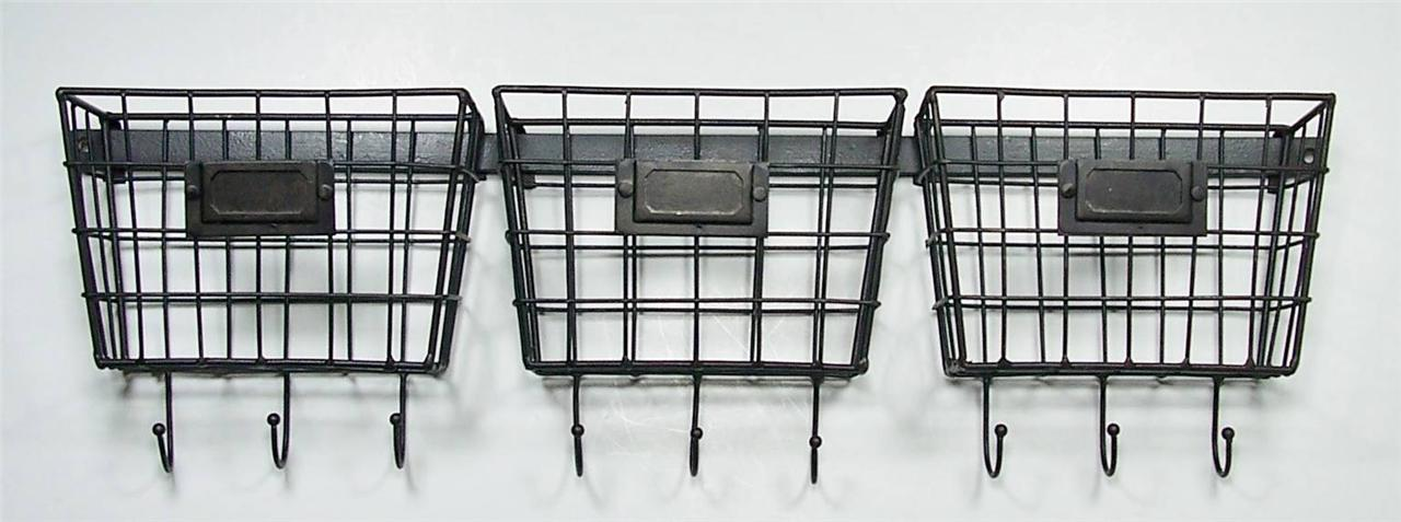 metal wire basket wall pockets mail holder organizers with key holders set of 3 ebay. Black Bedroom Furniture Sets. Home Design Ideas