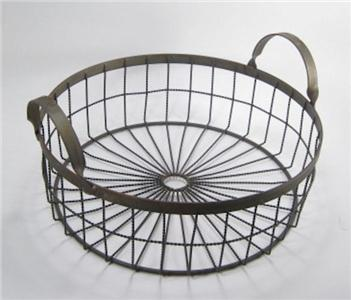 Metal twisted wire round basket rustic country style 14 diameter 4 5 qu - Diametre cercle basket ...