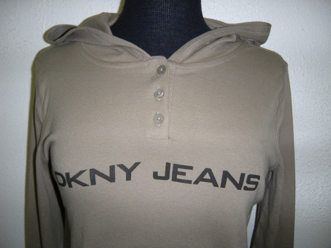 NWT-DKNY-Jeans-Womens-Hooded-Hoodie-Cotton-Shirt-Henley