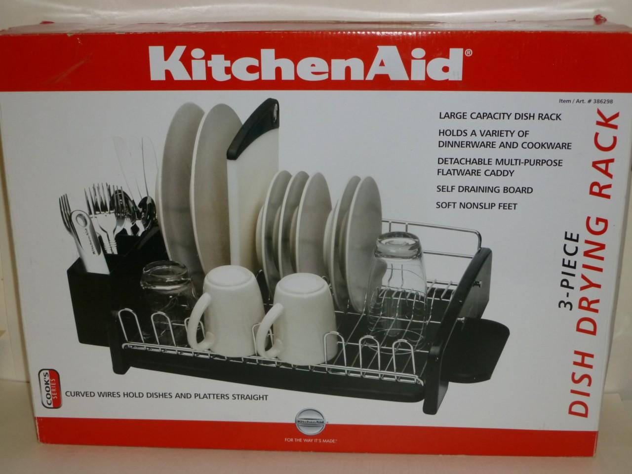 New Kitchenaid 3 Piece Dish Drying Rack Black Kat896ob Ebay