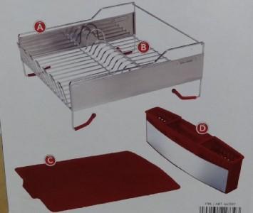 New Kitchenaid Dish Drying Rack 3 Piece Red Dish Drainer