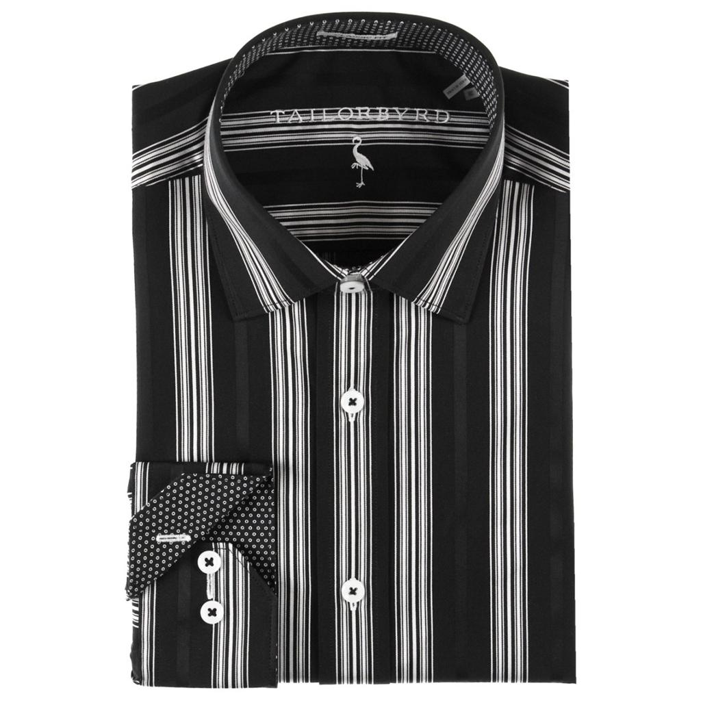 nwt tailorbyrd mens classic fit dress shirt black white