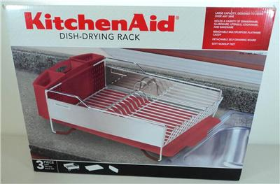 Nice kitchenaid dish drying rack 3 piece red and stainless steel dish drainer ebay - Kitchenaid dish rack red ...