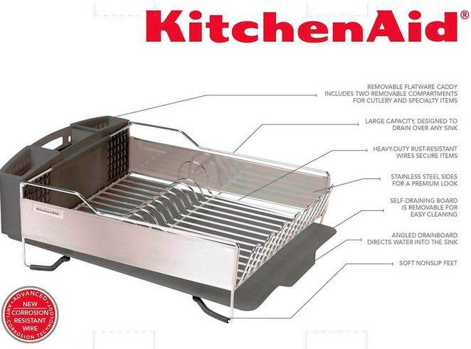 Kitchenaid Dish Drying Rack 3 Piece Red Or Black Stainless