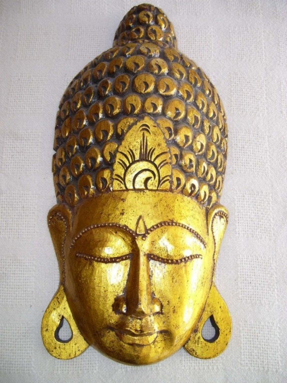 Hand carved wooden lord buddha wall mask plaque cm ebay