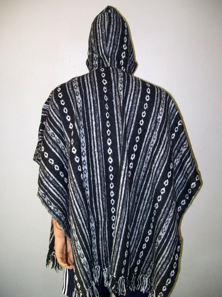 HEAVY-BRUSHED-COTTON-MENS-HOODED-PONCHO-WITH-POCKET-BLACK-GREY-WHITE