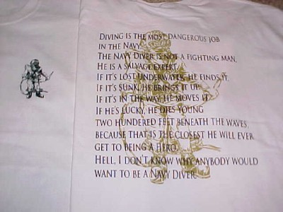 Details about US NAVY DIVER CREED WHITE T-SHIRT SIZE  X-LARGEUdt Navy Seal Diver Creed