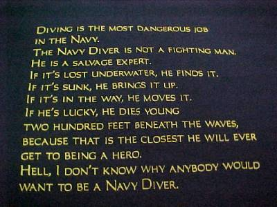 Details about US NAVY DEEP SEA DIVER - DIVERS CREED NAVY BLUE T- SHIRT    Udt Navy Seal Diver Creed