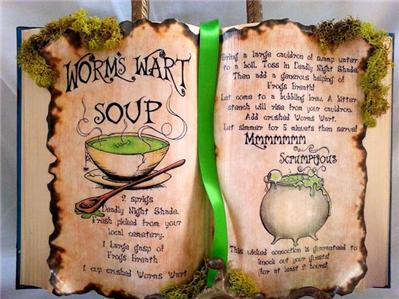 Nightmare Before Christmas Poison Potion Spell Recipe Book Worms Wart ...