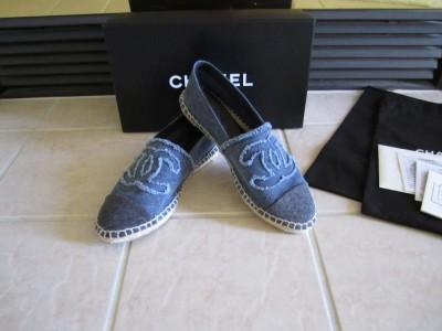 chanel canvas blue denim cc espadrilles flat shoes sz 9 41