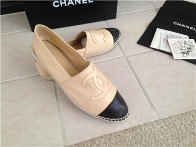 Chanel Leather Beige U0026 Black CC Espadrilles Flat Shoes Sz 10 41 | EBay