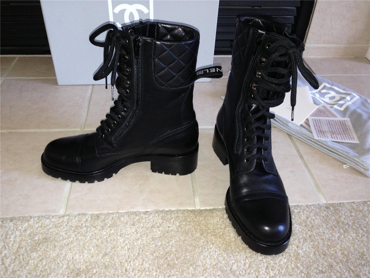 Chanel Quilted Black Motorcycle Combat Leather Boots 8 39 Ebay