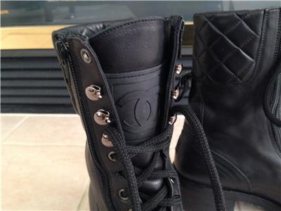 Chanel Quilted Leather Combat Boots Combat Leather Boots