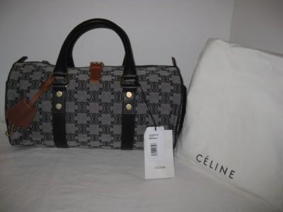 New Celine Logo Canvas Leather Navy Round Tote Bag Satchel Handbag ...