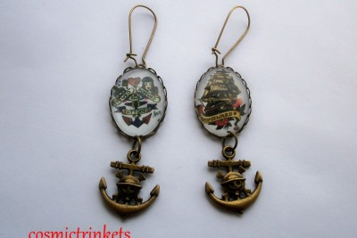 Sailor Jerry Tattoos on Sailor Jerry Tattoo Pictures Ships Anchor Earrings   Ebay