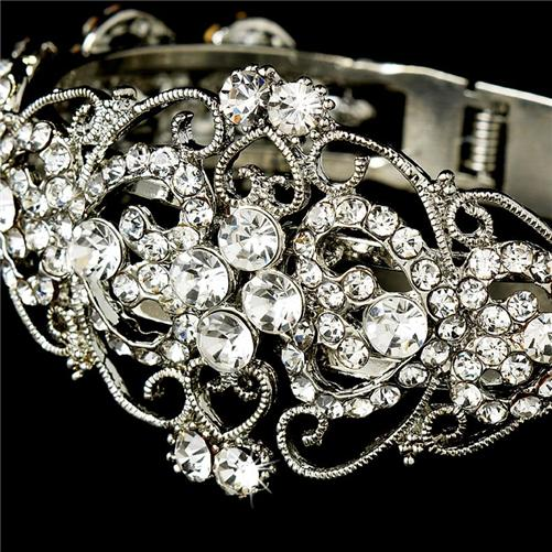 Crystal Rhinestones Wedding Bridal Pageant Prom Jewelry Cuff Bracelet