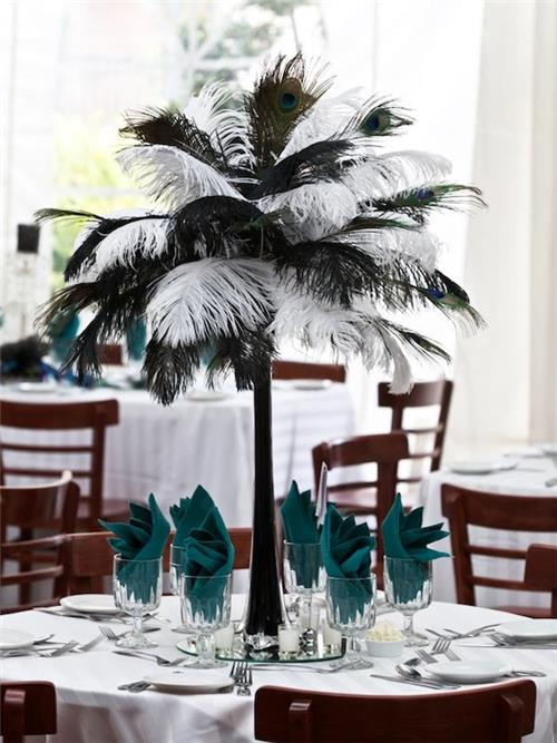 Eiffel tower vases ostrich feathers lights