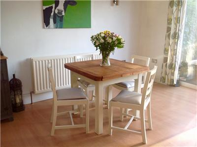 Vintage Shabby Chic Oak Extending Kitchen Table Chairs Dining Table And