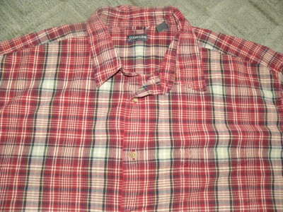 Mens Big Tall 4X SS Red Plaid Beige Blues SJB Shirt