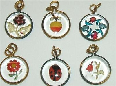 Antique German Reverse Painted Glass Charms   Lady Bug
