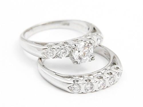 Cubic Zirconia Platinum Sterling Silver Engagement Wedding Ring Set 6789