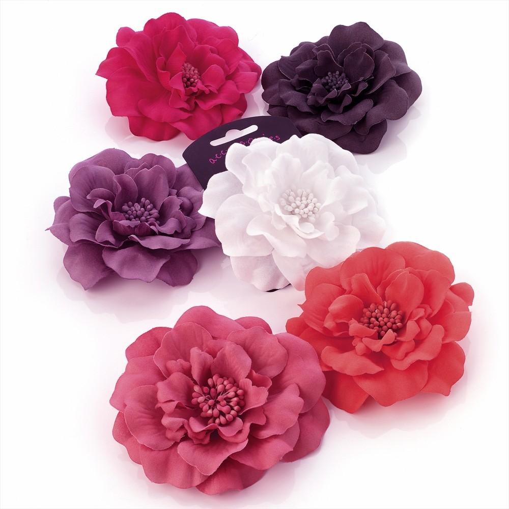 Pretty Flower Hair Clips 11cm Fabric Clip Accessories | eBay