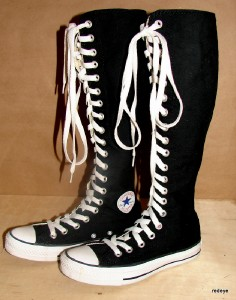 Women's Converse All Star Size 7 Knee High Shoes Boots Sneakers Black Laced. Converse. $ or Best Offer. Free Shipping. SPONSORED. NIB Converse All Star Girls CT XHI Knee High Black Size 3 Junior Side Zipper See more like this. Converse Shoes | Knee Calf High Zip Up Laced Funky Retro Tennis Shoes W/ Zippers. Pre-Owned. $