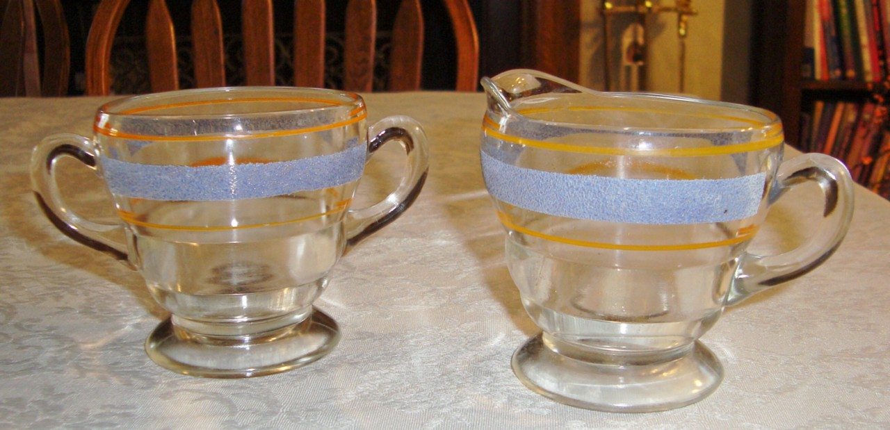 VINTAGE BLUE & ORANGE STRIPPED  SUGAR & CREAMER