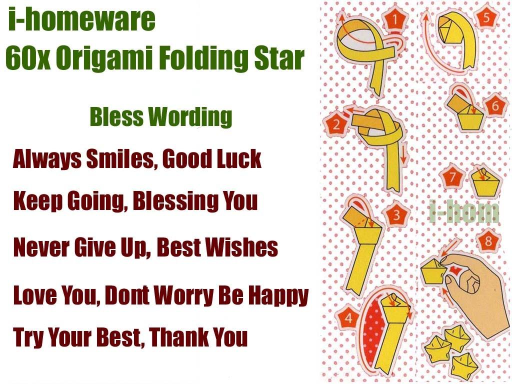 60x bless words origami lucky star folding paper strips ebay for Lucky star folding