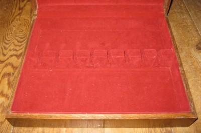 Vintage Flatware Wooden Storage Chest Case Silverware Oak Wood Red ...