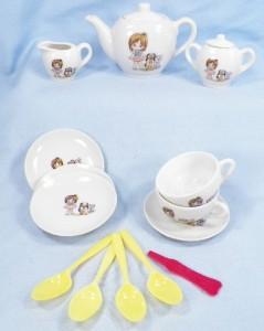 little girl dog cat tea set in ob childs children porcelain vintage japan cute ebay. Black Bedroom Furniture Sets. Home Design Ideas