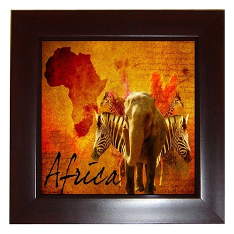 African animals framed tile home wall decor tiled African elephant home decor