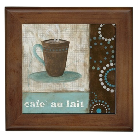 CAFE AU LAIT COFFEE KITCHEN FRAMED TILE HOME WALL DECOR TILED PICTURE