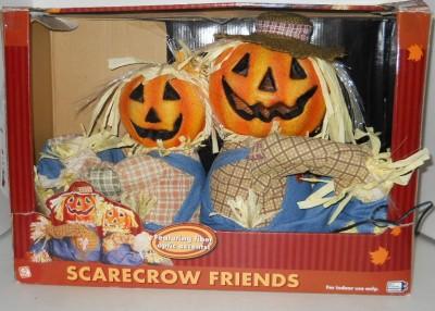Halloween gemmy fiber optic light scarecrow jack o lantern for Fiber optic halloween decorations home